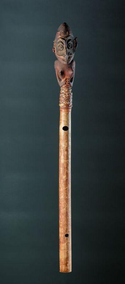 Flauta que se puede ver en la exposición.