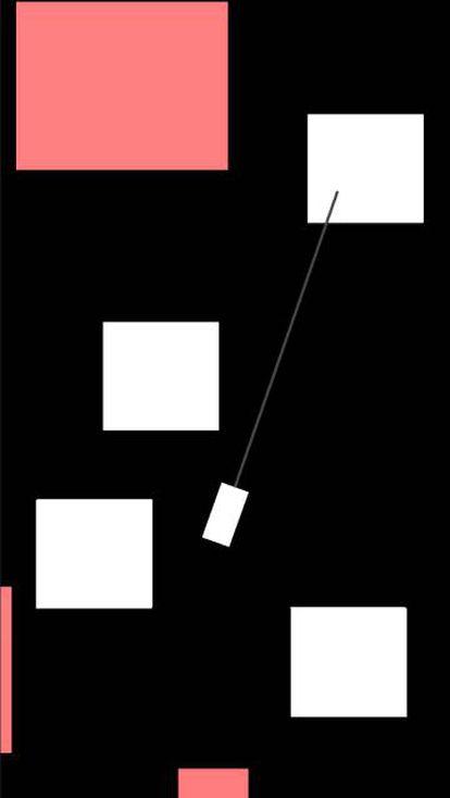 Primer prototipo del juego de Ed Kay. Lo principal aquí era comprobar que el balanceo del gancho funcionaba bien.