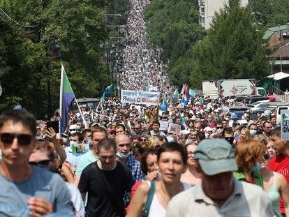 Protesta en apoyo al gobernador de Jabárovsk Krai, Serguéi Furgal, este sábado en la ciudad de Jabárovsk.