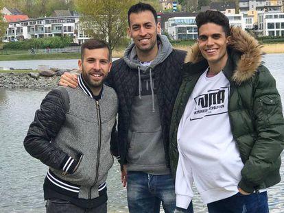 Jordi Alba, Sergio Busquets y Marc Bartra.