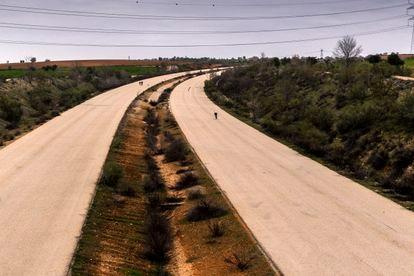 La carretera MP-203 a la altura de Mejorada del Campo, en una imagen de este martes.