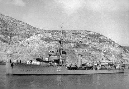 Destructor 'Gravina', en Cartagena en 1936.