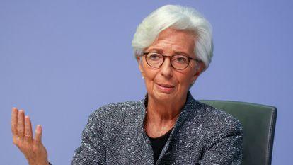 La presidenta del BCE, Christine Lagarde, en una rueda de prensa el pasado 12 de marzo.