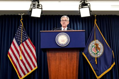 El presidente de la Reserve Federal Jerome Powell en una rueda de prensa en diciembre de 2019, Washington.