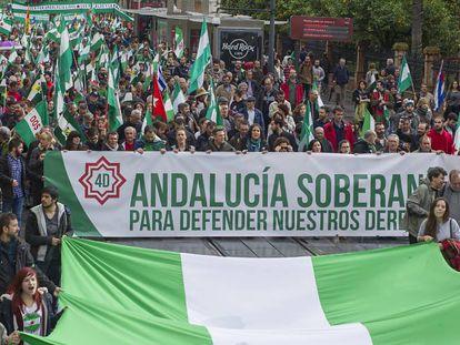 Cabecera de la manifestación celebrada en Sevilla.