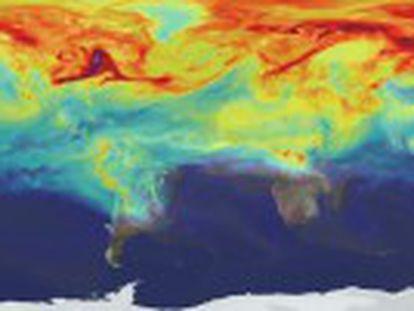Un vídeo de la NASA muestra la presencia de dióxido de carbono sobre la atmósfera. En unos minutos recorre un año de evolución de CO2 que parece arder en el norte