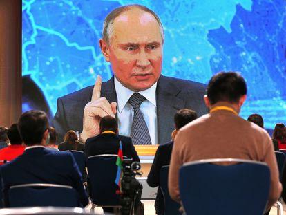 El presidente ruso Vladímir Putin, ayer durante la comparecencia en que hizo balande del último año.