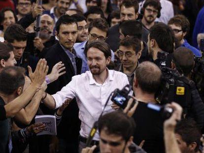 Pablo Iglesias en la asamblea de Podemos.