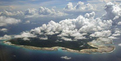 Imagen aérea de la isla de Sentinel del Norte.