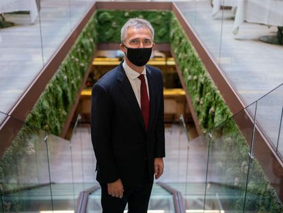 Jens Stoltenberg, en un hotel de Madrid, minutos después de la entrevista.
