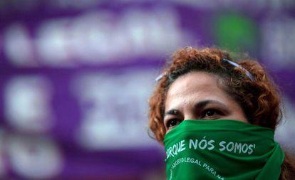 Activista por la legalización del aborto en Río de Janeiro, en 2018.