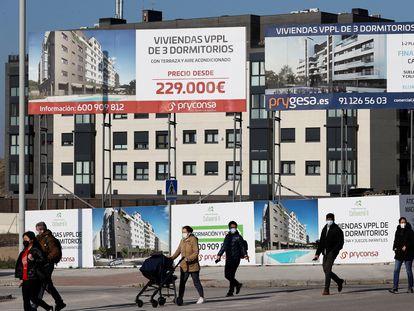 Promoción de viviendas en construcción en el barrio madrileño de El Cañaveral.