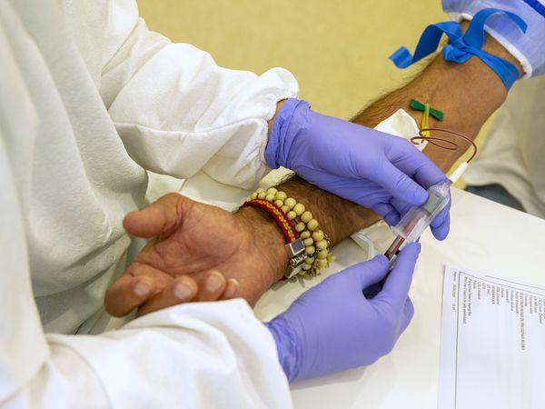 La enfermera Silvia González extrae sangre a Pedrosa.