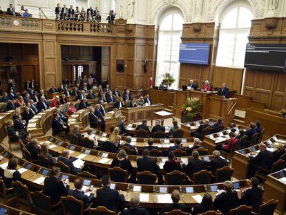 Una sesión en el Folketing (Parlamento danés), en octubre de 2018.
