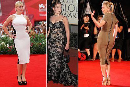 La actriz Kate Winslet, en la presentación de 'Mildred Pierce' (izquierda) y 'Un dios salvaje' (derecha), en septiembre de 2011 en Venecia, y, en el centro, en el estreno de 'Titanic', a finales de 1997.