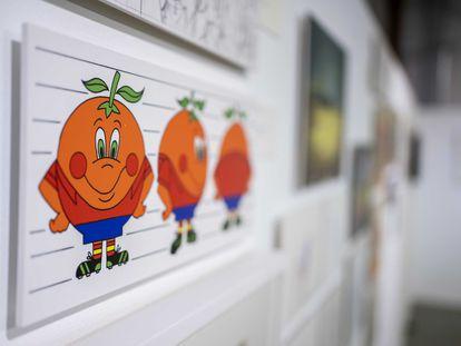Una imagen de Naranjito expuesta en la muestra 'Animación.es'.