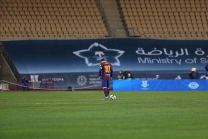 Messi, durante la final de la Supercopa ante el Athletic, el domingo en La Cartuja.