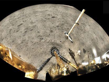 La sonda espacial china Chang'e-5 recogió dos kilogramos de tierra y rocas lunares en torno al punto de su alunizaje.