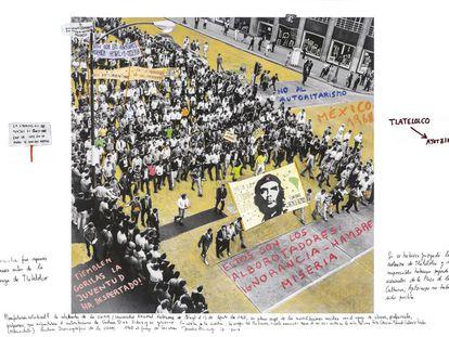 Fotografía de la manifestación en la UNAM de México, el 13 de agosto de 1968. La imagen intervenida por Brodsky es del fotógrafo Manuel Gutiérrez Paredes.