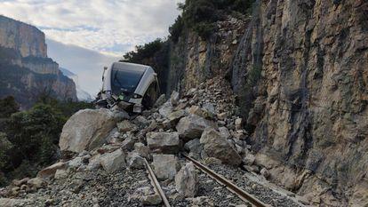 El tren accidentado este viernes.