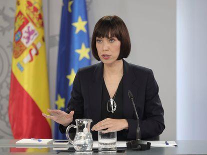 La ministra de Ciencia e Innovación, Diana Morant, tras la reunión de este lunes del Consejo de Ministros celebrado en Moncloa.