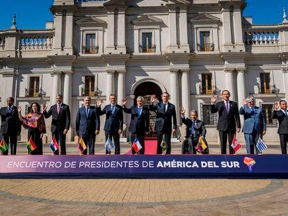 Foto de familia de los mandatarios de ProSur, en Chile, en 2019.