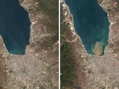 Combinación de imágenes satélite de la zona de Palau.