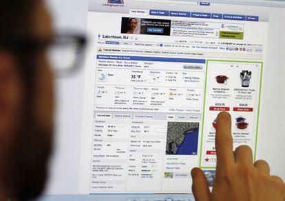 Publicidad que usa el 'retargeting' en una página de información meteorológica.