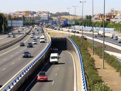 La autovía M-30 de Madrid, el 19 de julio de 2017.