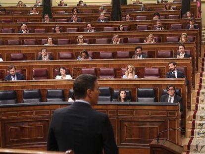 El presidente del Gobierno, Pedro Sánchez, durante su intervención en el pleno del Congreso de los Diputados el pasado 10 de junio.