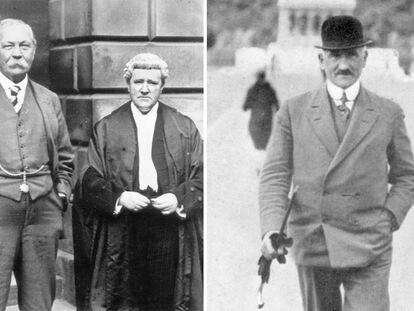 A la izquierda, el escritor Arthur Conan Doyle y el abogado Craigie Aitchison, durante la revisión del 'caso Slater' en 1928. A la derecha, Oscar Slater, el judío alemán condenado en Glasgow por un crimen que no cometió.
