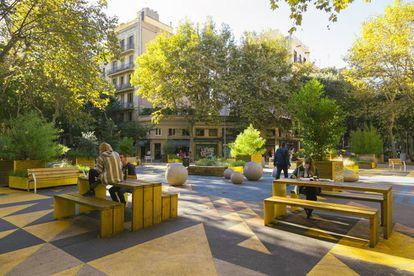 Extensión de la supermanzana de Sant Antoni, en Barcelona, con varios usos para un mismo espacio.