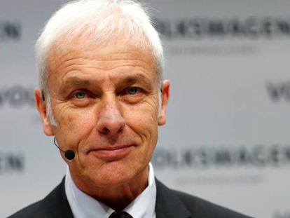 El presidente de Volkswagen, Matthias Müller, en la conferencia anual de resultados celebrada en Berlín el pasado 12 de marzo.