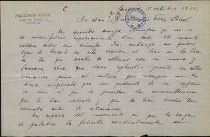 Carta de Ayala a sus 18 años al autor teatral Guillermo Fernández-Shaw (1924).