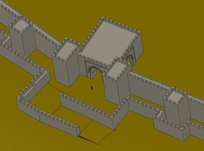 Reconstrucción digital de la puerta de acceso con recodos de la muralla benimerí.