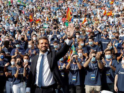 El presidente del PP, Pablo Casado, en la convención nacional del partido, el pasado 3 de octubre, en Valencia.