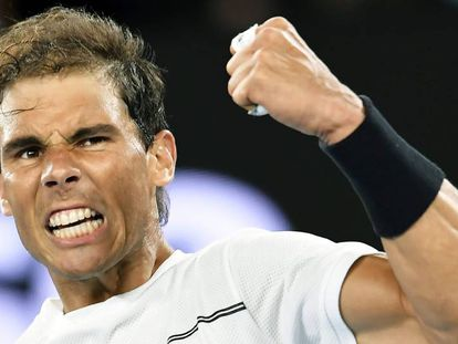 Nadal celebra su pase a las semifinales del Open de Australia.
