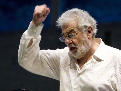 Plácido Domingo durante un ensayo de 'Juana de Arco' en Salzburgo.