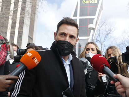 Antonio David Flores a la entrada de los juzgados de Madrid, en febrero.