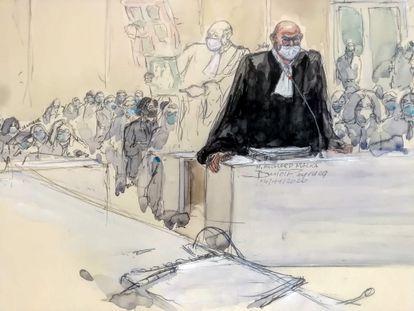 Retrato del abogado de 'Charlie Hebdo' Richard Malka, durante el proceso por los atentados de enero de 2015.