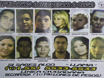Un cartel con los rostros de los 12 desaparecidos en un 'after hours' en el DF.