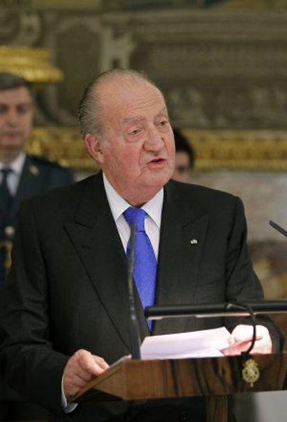 El Rey, durante su discurso previo al almuerzo en honor del presidente de Guatemala, Otto Pérez Molina, el pasado miércoles en el Palacio Real.