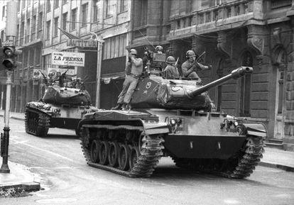 Tanques durante el golpe de Estado de Pinochet.