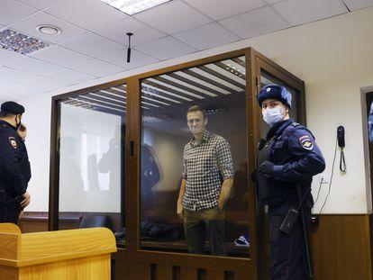 El opositor Alexéi Navalni, en el Tribunal Municipal de Moscú, el pasado 20 de febrero.