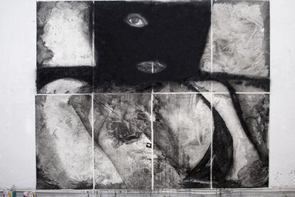 <i>Beijing-Lalín</i> <i>2011</i>, pieza en tinta china sobre papel de arroz de Alain Urrutia que se exhibirá en Lalín este fin de semana.