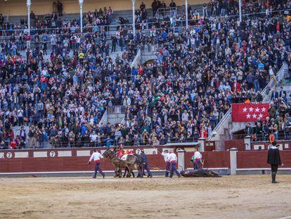 Emoción en Las Ventas. Vuelta al ruedo al toro 'Viscoso', de El Torero, el 1 de abril de 2018.