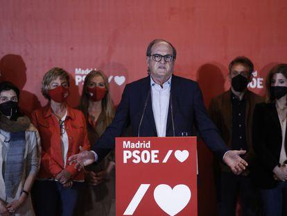 Ángel Gabilondo, en una comparecencia sin preguntas en la noche electoral.