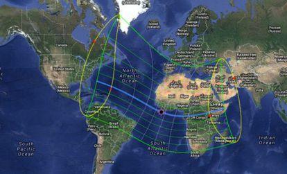 Proyección de recorrido del eclipse el 3 de noviembre de 2013.