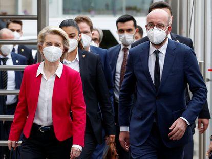 Ursula von der Leyen y Charles Michel, tras reunirse con Erdogan, el pasado martes en Ankara.