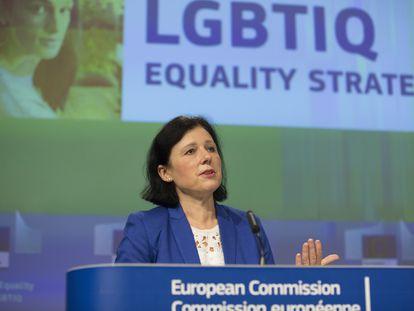 La vicepresidenta de la Comisión Europea de Valores y Transparencia, Vera Jourová, en Bruselas.